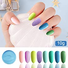 Honey Joy 8pcs/set Fine Dipping Powder Dip Kit Powder Nail Color System,Summer Light Pink Violet Yellow Purple Green Blue,Like Gel Polish Effect, Even & Smooth Finish (37-40-41-42-82-64-76-79-10g/box)