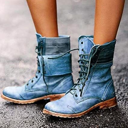 Details about  /Womens British Lace Up Low Heel Lace Up Winter Warm Boots Knee High Shoes Punk D