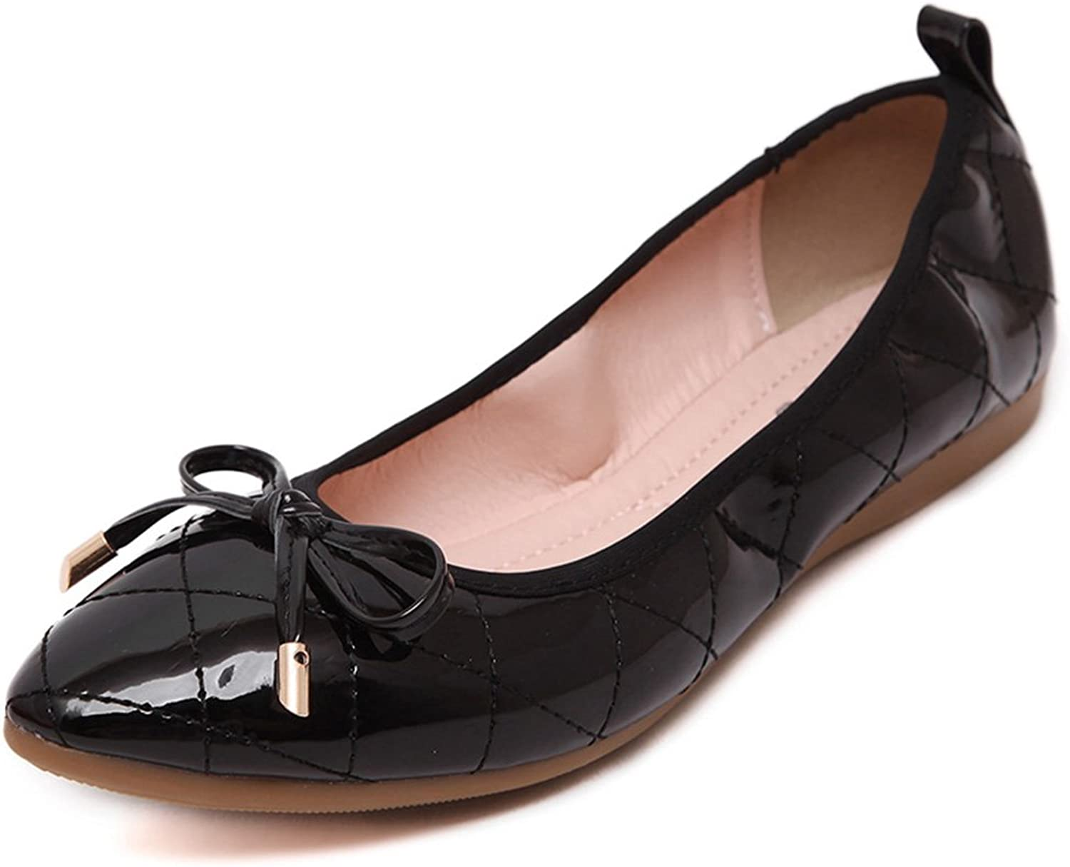 Meblvs Womens Leather Fashion Bowknot Slip On Loafer
