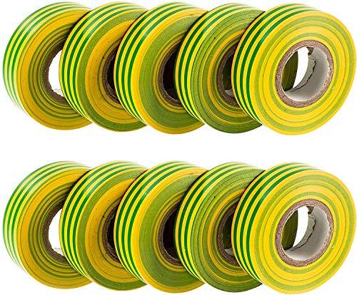 Gocableties PVC-Isolierband, 20 m x 19 mm, 10 Rollen, Grün/Gelb