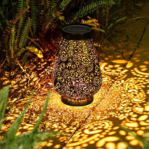 LED Solarlaterne für außen, Garten Deko Metall Solar laterne für Außen mit IP65 Wasserdicht, JOYCREATOR Hängend Solarlampe Garten Balkon Terasse (Schwarz)