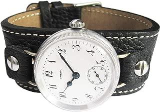 Fluco Vigo 14mm Riveted Black Leather Cuff Bund Watch Strap