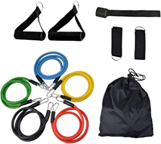 Aussie gear Exercise Resistance Band Set (11 Pcs) - 5 Stackable Exercise Bands with Handles, Training Tube with Door Ancho...