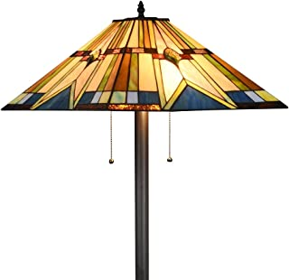 Tiffany Style Mission Floor Lamp Handcraft Stained Glass Shade W18