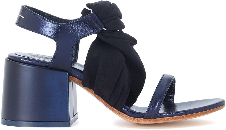 Mm6 Maison Margiela Sandalen In Leder Blau Und Textilie Schwarz, Gre Uk
