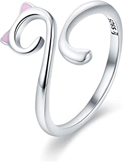 Cute Cat Rings 925 Sterling Silver Pink Cat Wrap Rings Adjustable Bands for Women
