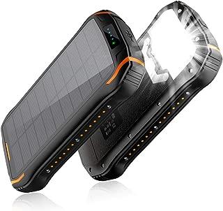 【2019最新版&15W急速充電】26800mAhモバイルバッテリー 大容量 ソーラーチャージャー ソーラー充電器 3つ出力ポート18個LEDライト付き IPX6防水 耐衝撃 災害/旅行/アウトドアに大活躍に iPhone/iPad/Android対応 (ブラックオレンジ)
