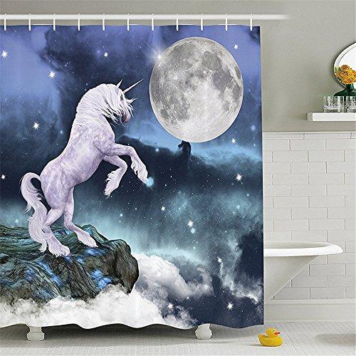 MIWANG Continental kreative Polyester wasserdicht Digitaldruck Duschvorhang zeit Ma-Serie HD 3D Badezimmer Wand Vorhänge Vorhänge, 180 * 180 cm Vorhang