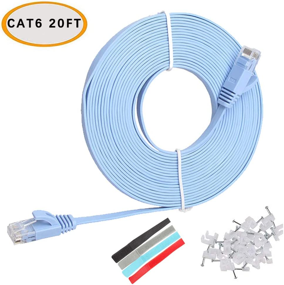 Relper-Lineso Cat 6 Ethernet Cable 100 ft (30 Meters) Flat Slim Long Internet Network LAN patch cords, Cat6 High Speed Computer Wire with Clips & Straps, Rj45 Connectors for Router, Modem,Laptop, Blue: Industrial & Scientific
