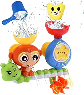 ANEAR Bath Toys for Toddlers Kids Babies 1 2 3 Year Old Boys Girls Bathtub Toy with 2 Toy Cups Strong Suction Cups Ideas C...