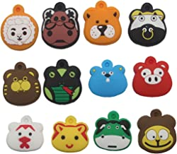 Colorboy Cute Cartoon Animal Tennis Dampener (Pack of 12 pcs) with Keychain Function Tennis String Shock Absorber Gift