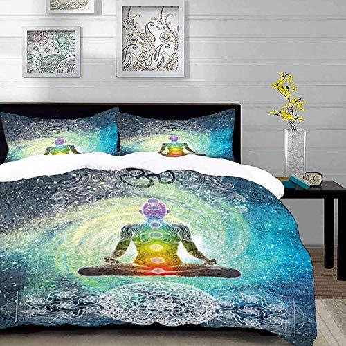 ropa de cama - Juego de funda nórdica, Yoga, Mandala Design Zen Meditation Hippie Style con Sign Chakra Art Print, Azul turquesa oscuro, Juego de funda nórdica de microfibra con 2 Funda de almohada 50