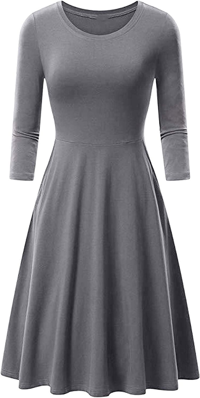 OMZIN Women's Casual 3/4 Sleeve Swing Fitted Dress Crewneck Midi A Line Flared Dress