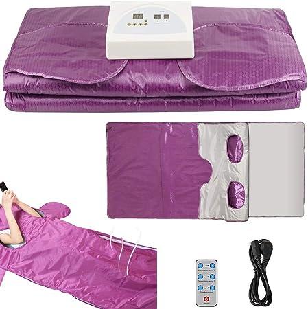 Sauna Blanket Upgraded Version Far Infrared 2 Zone Controller Digital Heat Sauna Blanket Heating Therapy SPA Body Detox Machine (Purple)
