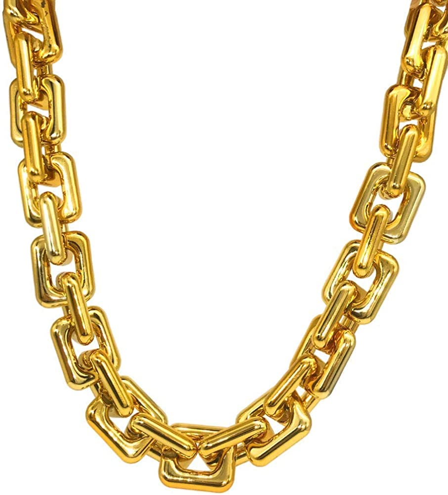 TUOKAY Huge Plastic Thick Gold Chain Costume Big Chunky Turnover Chain Hip Hop Necklace for Rapper 80s 90s Punk Style Necklace Costume Pimp accessories (25mm thick)