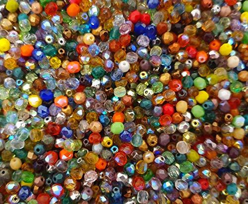 150X Preciosa Böhmische Kristallperlen 3mm Bunte Mix Set Kugeln Facettiert Tschechische Perlen Glasschliffperlen Glasperlen Druckperlen