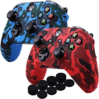 Kono Water Transfer Printing Camouflage Silicone Cover Skin Case for Microsoft Xbox One X & Xbox One S controller x 2(red&...