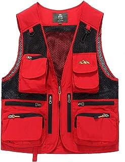 Men's vest Outdoor Thin vest Fashion Coat Multicolor vest (Color : Red, Size : M)