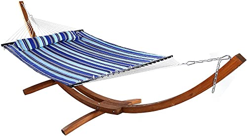 high quality Sunnydaze Quilted Double Fabric 2-Person Hammock with 13 Foot Curved Arc Wood high quality Stand, Catalina Beach, 400 online Pound Capacity online