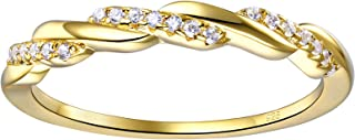 Wuziwen Yellow Gold Eternity Rings White Cubic Zirconia 925 Sterling Silver Wedding Band Size 5-10