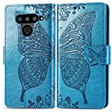 Bravoday Handyhülle für LG V50 ThinQ 5G Hülle, Stoßfest PU Leder Tasche Flip Hülle Schutzhülle für LG V50 ThinQ 5G, mit Kartenfäch und Kickstand, Blau