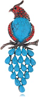 Alilang Vintage Large Parrot Bird Faux Synthetic Turquoise Crystal Rhinestone Fashion Pin Brooch