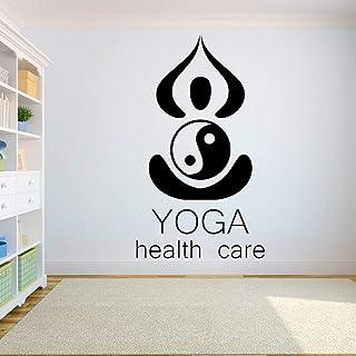 CCJIANI Yoga Tatuajes de Pared Tatuajes de Flores de Loto Tatuajes de Pared Tatuajes de Yoga Logo Arte hindú Vinilo decoración Etiqueta 99x57cm