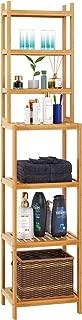 Homfa Bamboo Bathroom Shelf 7-Tier Tower Free Standing Storage Organizer Rack, Multifuntional Utility Shelf, Natural