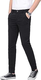 Plaid&Plain Men's Skinny Khaki Pants Skinny Fit Chinos