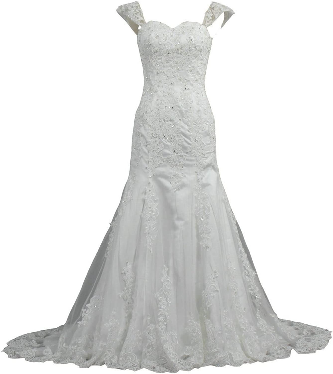 ANTS Women's Cap Sleeve Beaded Lace Tulle Wedding Dress Bridal Gown