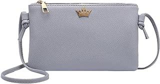 Everpert Women Pu Leather Crown Shoulder Bag Zipper Casual Crossbody Bags/Light Grey