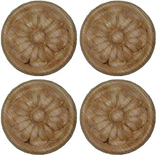4 PCS 1-1/2 Dia Pressed Wood with Oak Rosette Surface Furniture Repair Parts