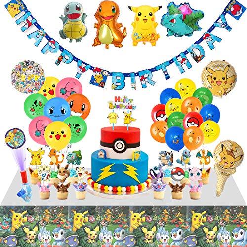 veeyiki Kindergeburtstag 142 STK Partydekorkation Kinder Feier inklusiv Luftballons, Banner, Kuchendeckel, Fingerlichter, Tischdecke, Aufkleber (pko)