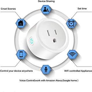 SUNANDMOON Smart Plug WiFi Outlet Compatible with Alexa, Google Home & IFTTT for Voice Control, Mini Smart Socket with Timer Function, No Hub Required (White, 2 Pieces)