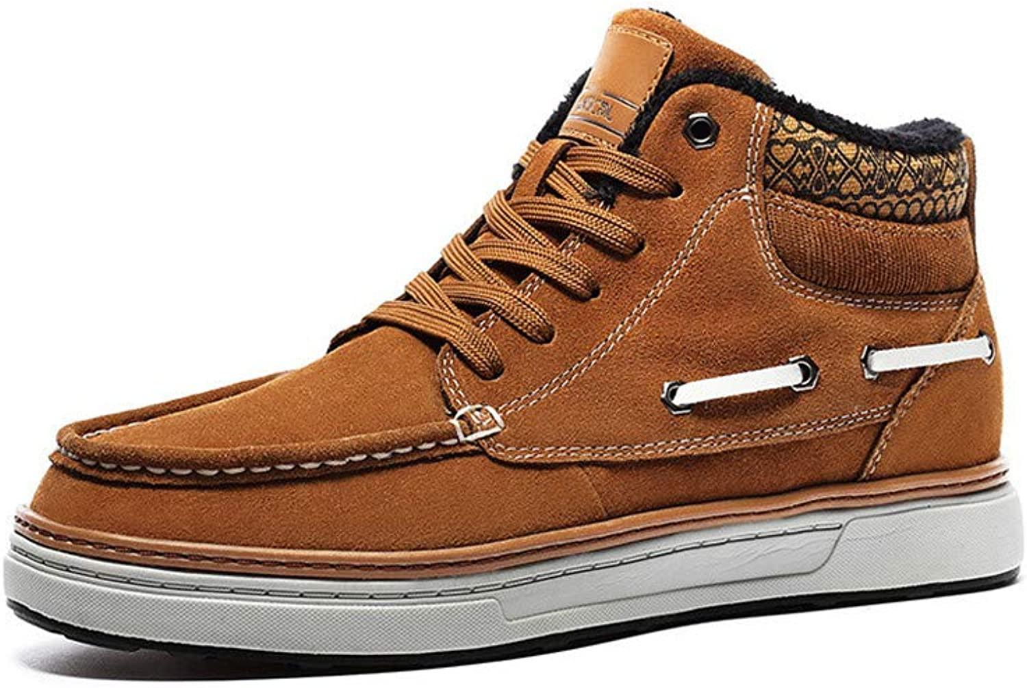 CWXDIAN Men's boots, warm, casual, high-top, men's shoes, snow boots, coffee color, 40
