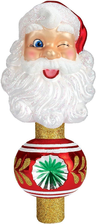 Old World Christmas Ornaments  Winking Santa Tree Top Glass Blown Ornaments for Christmas Tree