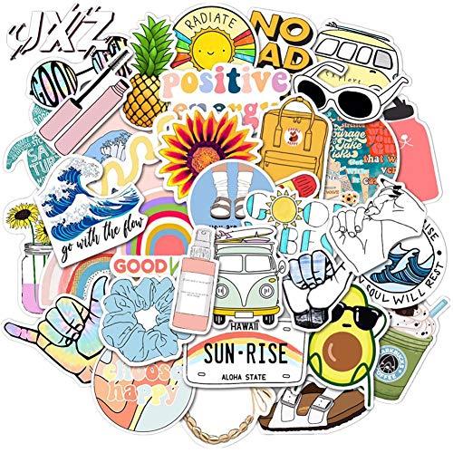 Beauth Ästhetische Aufkleber Vinyl Graffiti Wasserdicht Sticker Sommer Strand Ephemera Pack für Hydroflaschen Wasserflaschen Cup Auto Motorrad Snowboard iPhone Laptop iPad Gepäck Skateboard 35 Stück