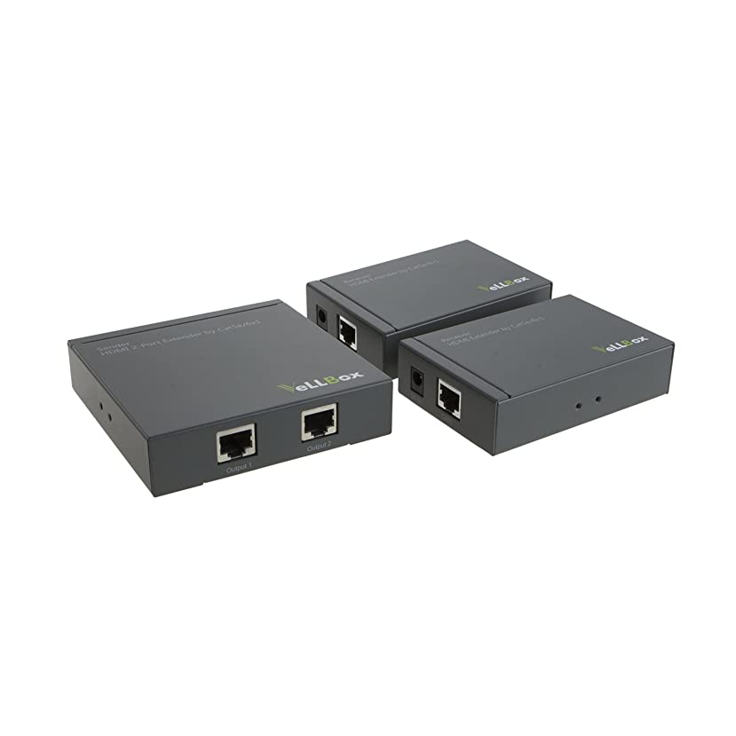 VeLLBox HDMI 2-port Extender by cat-5e/6 cable 50m Support Resolution up to 1080p, Universal Power Adapter, Grey Color