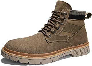 Happy-L Shoes, Retro Casual Ankle Boots for Men Work Anti-Skid Boots Lace up Canvas & Genuine Leather Patchwork Rubber Sole Round Toe Stitching