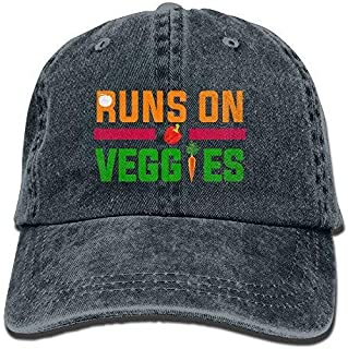 a9ebaab68 Runs On Veggies Funny Vegan Vegetarian Vintage Washed Dyed Cotton Twill Low  Profile Adjustable Baseball Cap