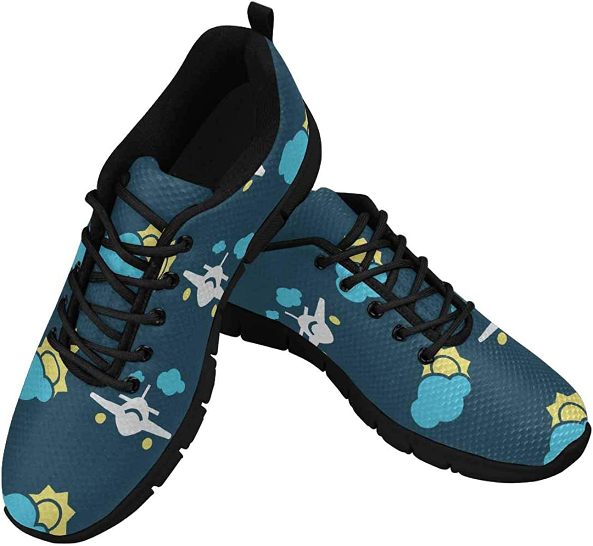 INTERESTPRINT Planes in Sky Women's Lightweight Athletic Casual Gym Sneakers