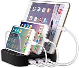 3-Port USB Charging Station, Mixmart 40W 8A Charging Docks and Travel Charger for iPhone 7/7 Plus, Samsung Galaxy and Tablets - Silver
