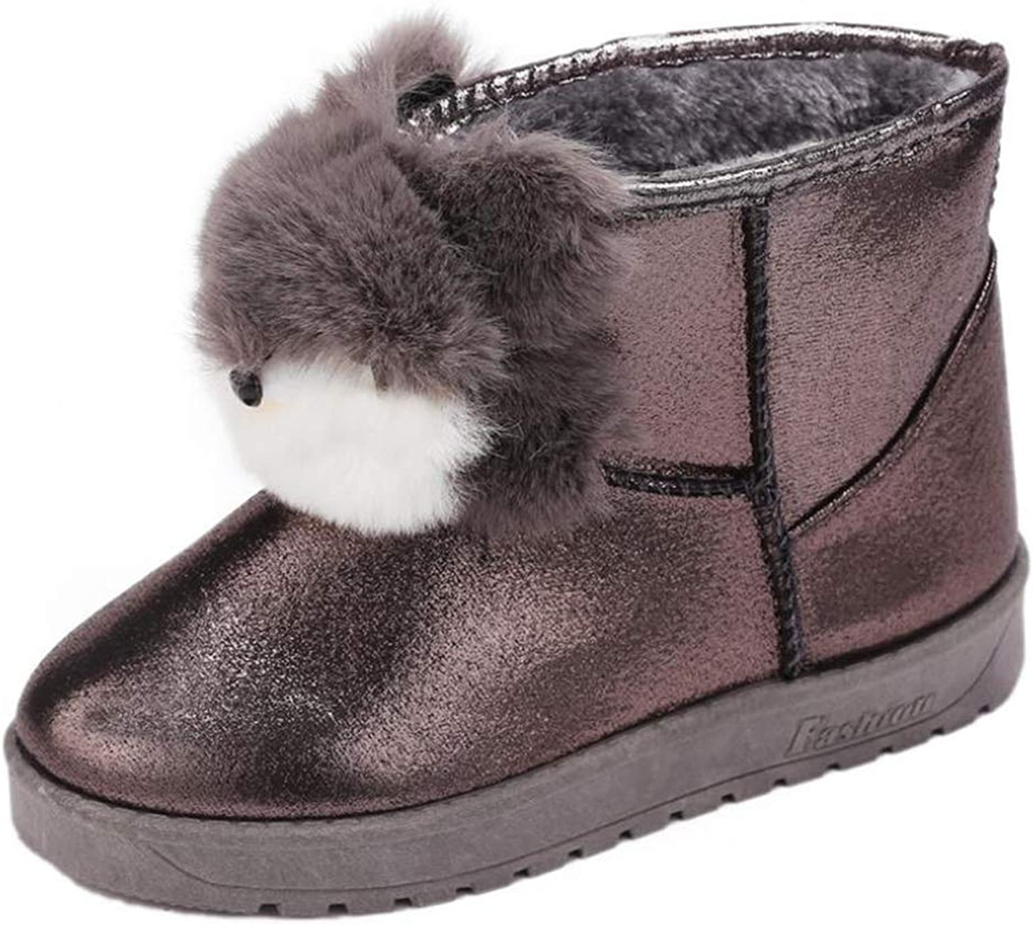 Quality.A Women's Cartoon Fox Snow Boots Autumn and Winter Flat Boots Cute Warm Boots
