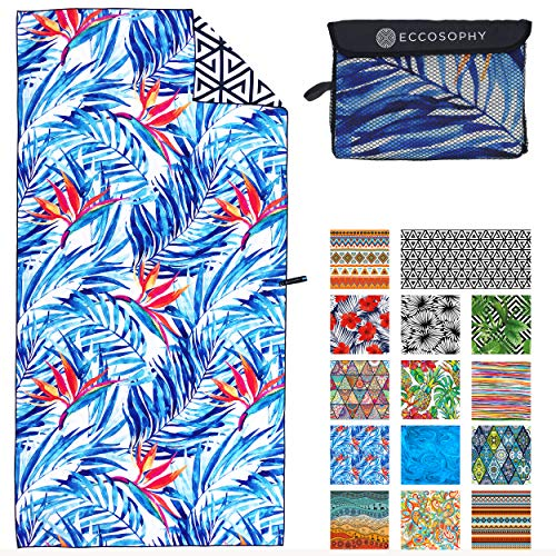 ECCOSOPHY Microfiber Beach Towel - Quick Dry Pool Towels 71x35 inches Oversized Travel Towel - Lightweight Compact Beach Accessories - Large Sand Free Micro Fiber Beach Towels (Tahiti)