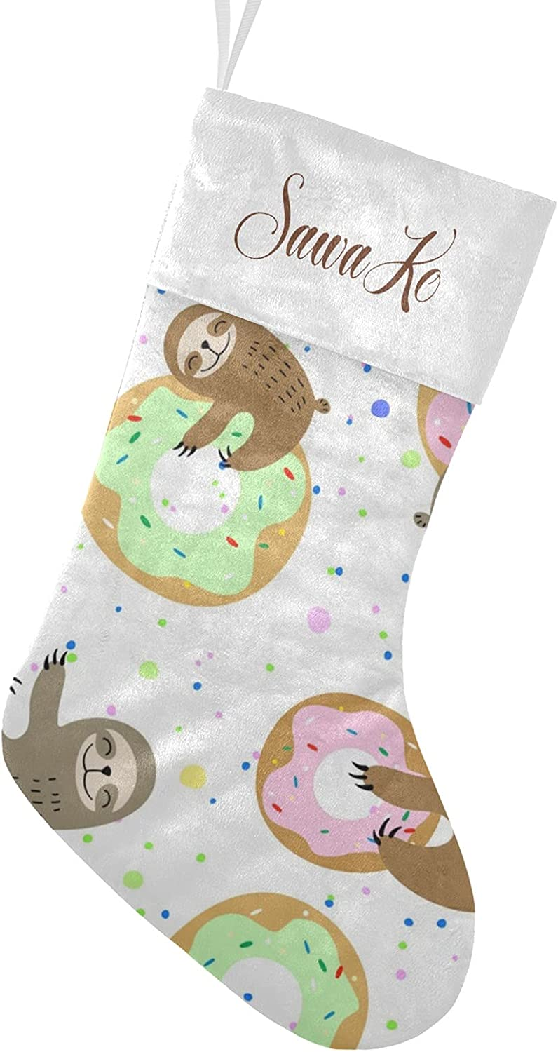 CUXWEOT Donut Cartoon Sloth Max 71% OFF Stocking Personalized Christmas Name 100% quality warranty!