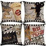 7COLORROOM 7ColorRoomVintage Cinema Pillow Covers Movie Theater Poster...