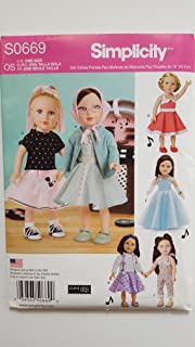 Simplicity S0669 1950's Inspired Doll Clothes Pattern for 18