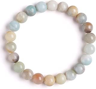 J.Fée - Braccialetto elastico in amazzonite multicolore, 8 mm, pietra naturale, regalo di Natale, braccialetto elastico, u...