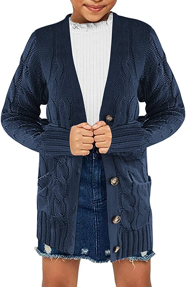 Ebifin Kids Girls Cardigan Sweater Button Knit Long Cardigan Sweaters Coat with Pockets 4-15 Years