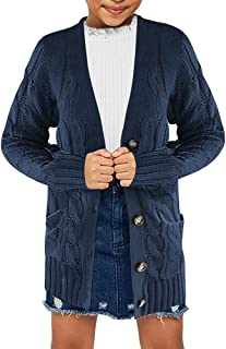 Ebifin Girls Cardigan Sweater Button Knit Long Cardigan Sweaters with Pockets 4-15 Years